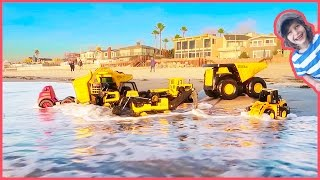 Construction Trucks for Kids Go to the BEACH!🌴☀️