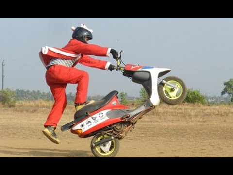 TVS Scooty Pep The Crazy Santa Claus Motorcycle Stunts in India