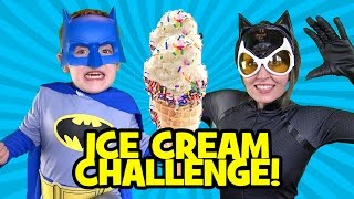 Batman vs Catwoman Ice Cream Challenge with Superheroes in Real Life by KidCity