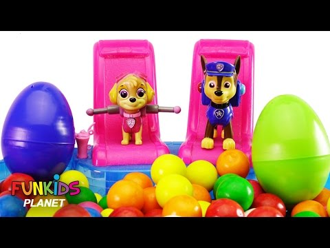 Best Paw Patrol Skye & Chase Gumballs Swimming Pool and Surprise Eggs