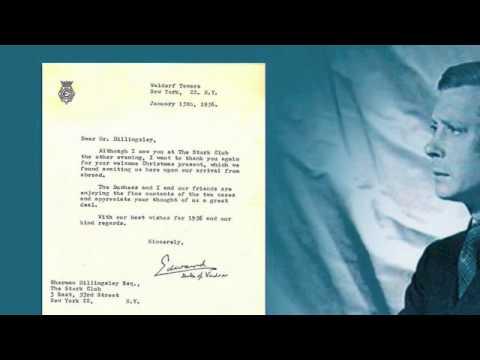 A Letter from Edward Duke of Windsor to Stork Club Owner Sherman Billingsley