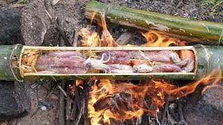 Cooking Squid and Rice in Bamboo / Boiling Squid