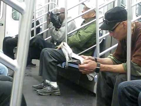 Man Licking Shoes on New York Subway