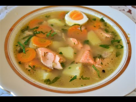 Уха из форели/Суп из красной рыбы.
