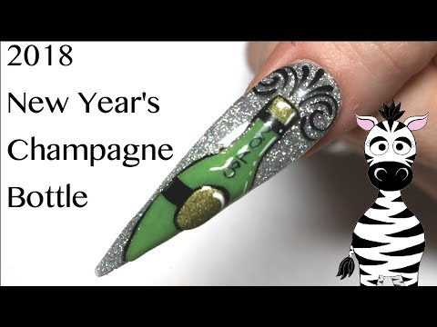 3D Champagne Bottle New Years 2018 Acrylic Nail Art Tutorial