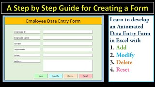 How to Create a Data Entry Form in Excel With Add, Modify, Delete and Reset (Step-by-step Guide)