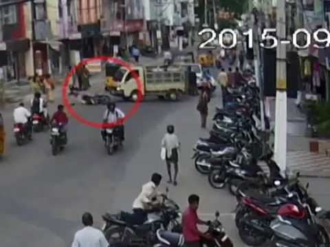 TATA ACE Vs Bike | Caught by CCTV Cam | Live Accidents in India | Tirupati Traffic Police