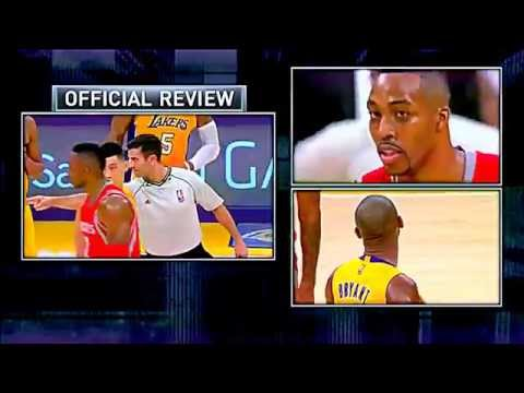 Dwight Howard SWINGING ELBOWS vs Kobe Bryant --- lakers rockets altercation 10.28.14