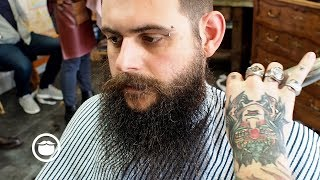 Wild Hair and Beard Get Tamed by Barber