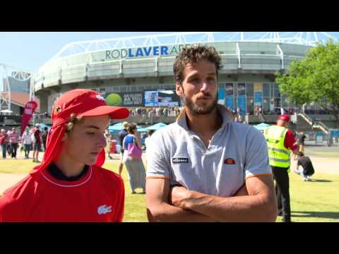 Feliciano Lopez apologises to the ballkid he hit in the..