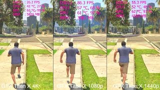 GTA 5 1080p Vs 1440p Vs 4K GTX Titan X Frame Rate - VRAM Comparison