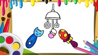 how to draw accessories for baby coloring and drawing toys colours for kids