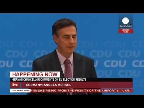 Merkel's reaction after European Parliament Elections (recorded LIVE feed)