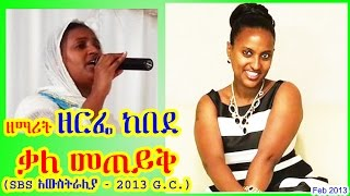 ዘማሪት ዘርፌ ከበደ ቃለ መጠይቅ Zemarit Zerfie Kebede SBS Interview - Feb 2013