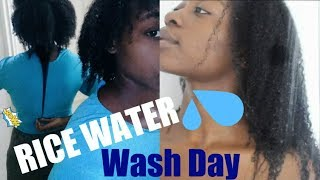 RICE WATER NATURAL HAIR WASH DAY ROUTINE!