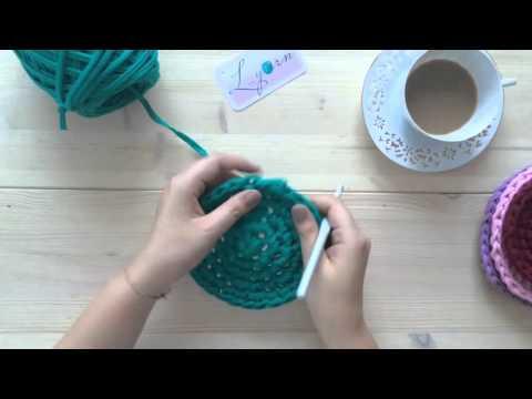 Мк по вязанию крючком корзины трикотажными нитками