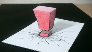 【トリックアート】! マークが紙にささる  3D draw a Exclamation mark sticks to paper