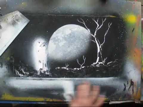 spray paint art moonlight spacepainting youtube. Black Bedroom Furniture Sets. Home Design Ideas