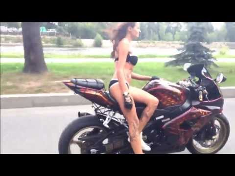 naked bikini girl stuns on motorcycle