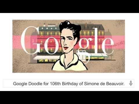 106th Birthday of Simone de Beauvoir Google Doodle [9 January 2014]