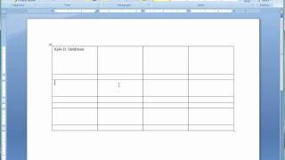 How to Use Tables in Microsoft Word 2007