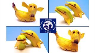 How to Make a Dog and a Dolphin with a Banana / Food Art, Decoration, Carving