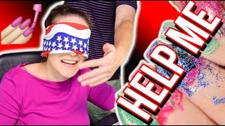 NAIL PAINTING HOSTAGE SITUATION | Blindfolded Nails Challenge