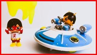 Superhero Kid Ryan Red Titan SLIMED by Space Alien Ryan From Ryan ToysReview!!!