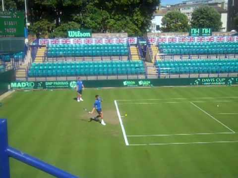 James Ward hits with fellow British singles player Jamie Baker in preparation for their Davis Cup by BNP Paribas tie with Turkey from the 9th-11th July in Ea...