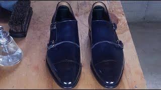 ASMR Shoe Shine Carlos Santos Double Monk Navy