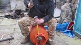Propane Gas  Tank Valve Removal - Rocket Stove Heater - Pot Belly Stove