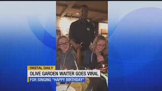 Olive Garden waiter goes viral after singing 'Happy Birthday' to twins