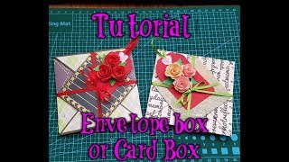 card box/envelope box with tag and mini roses(Tutorial)