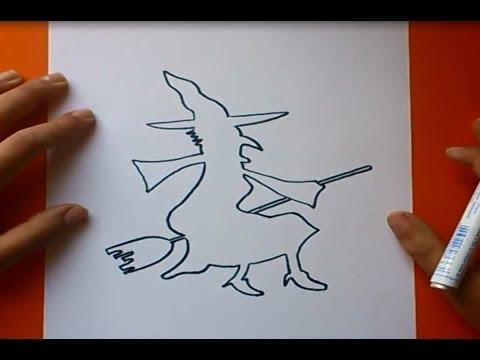 Como dibujar una bruja paso a paso How to draw a witch