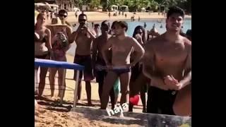 Neymar playing football in Barra Grande, in the Maraú Peninsula