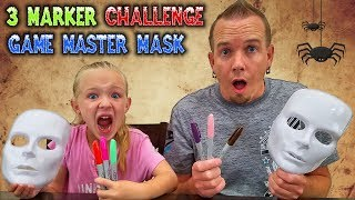 3 Marker Halloween Mask Challenge! Fun DIY Game Master Mask!!