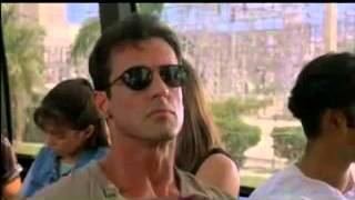 Sylvester Stallone in a bus fight