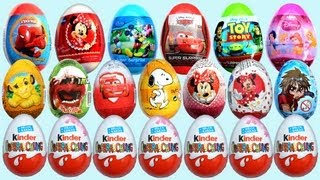24 Surprise Eggs Kinder Surprise Mickey Mouse Minnie Mouse Cars 2 Disney Pixar