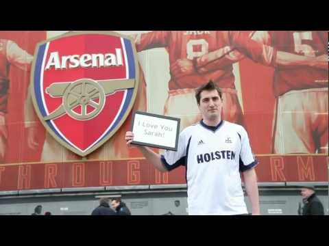 Arsenal fan wears Tottenham shirt outside Emirates to apologise to girlfriend