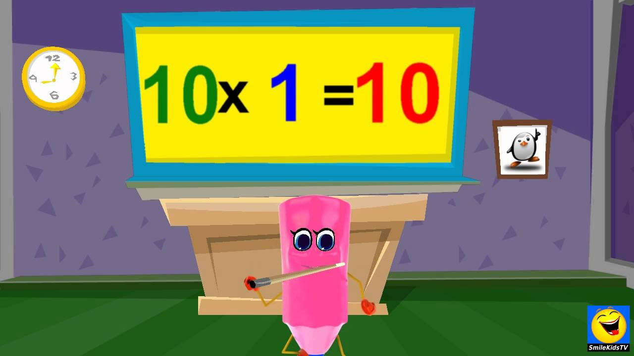 multiplication 10 times table twice kids songs with