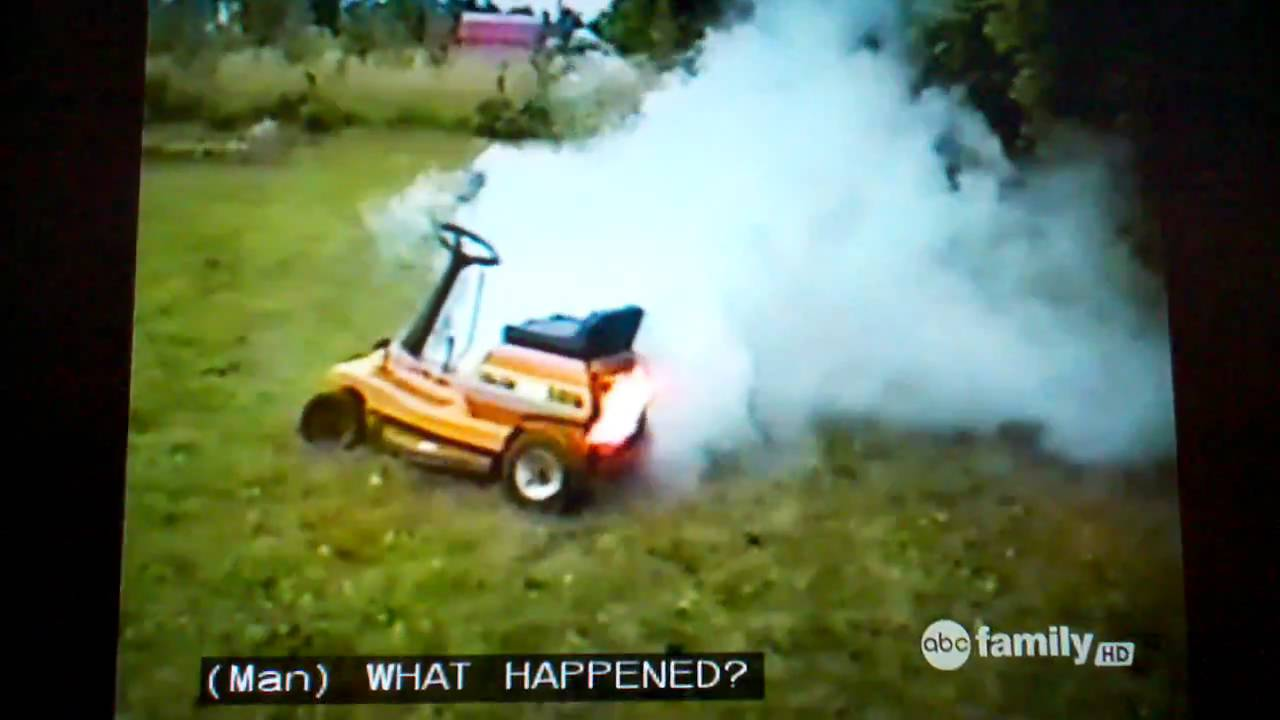 White Lawn Mower Lawn Mower Fire And White