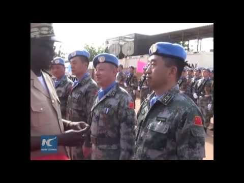 RAW: 395 Chinese peacekeepers in Mali decorated with UN medals