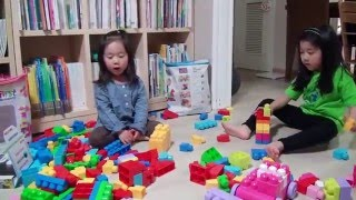 First play with blocks (with Mega Bloks - Fisher Price)