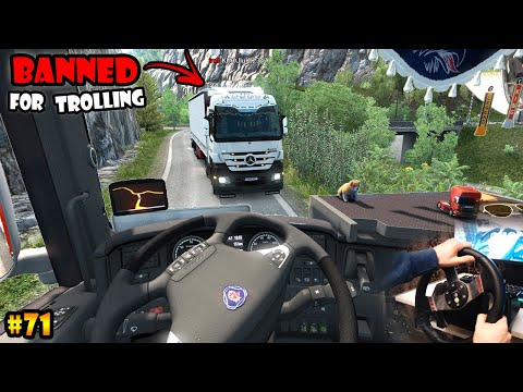 ★ IDIOTS on the road #71 - BANNED for trolling - ETS2mp funny moments - Euro Truck Simulator 2