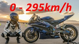 Yamaha YZF-R6 - Acceleration 0-295km/h & Startup & Exhaust Sound & Burnout & Wheelie & TOP Speed