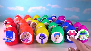 60 Toy Surprise Eggs! Play Doh and Slime Eggs with Paw Patrol, PJ Masks,