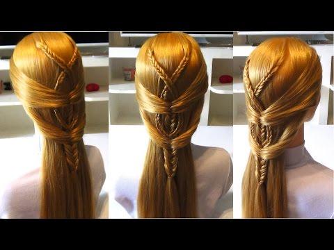 Причёска из плетения на средние волосы