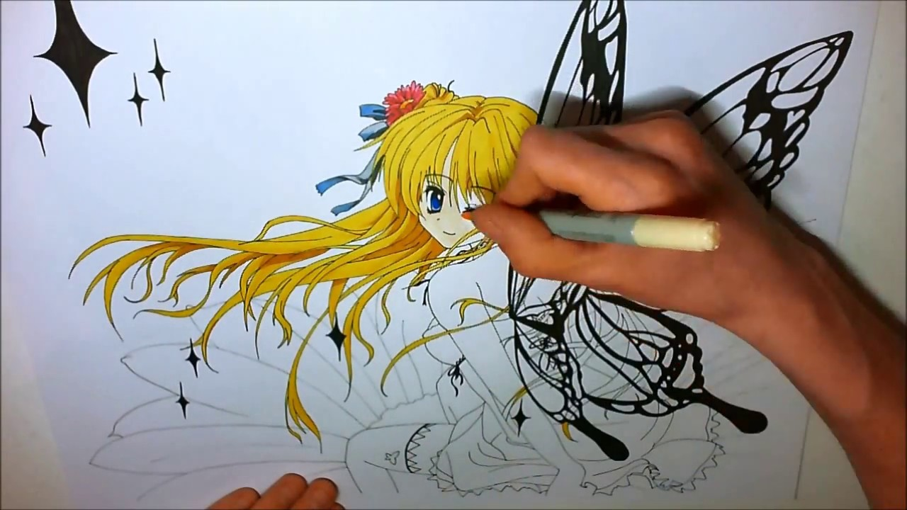 Dessin f e manga feutre alcool youtube - Mangas dessin ...