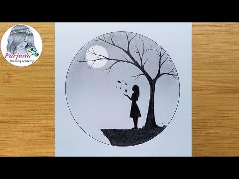 Play this video How to draw a girl with Butterfly in Moonlight for beginners  Pencil sketch  Art Video