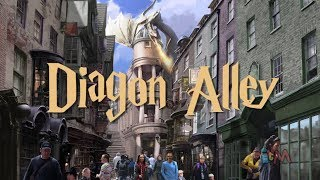 "Diagon Alley art with ""Escape from Gringotts"" ride at Wizarding World of Harry Potter, Orlando"